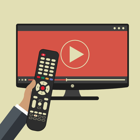 손을 잡고 원격 제어입니다. TV 아이콘 개념입니다. 텔레비전에서 아이콘을 재생하십시오. 스마트 TV 개념입니다. 플랫 벡터 일러스트 레이션 스톡 콘텐츠 - 90169822