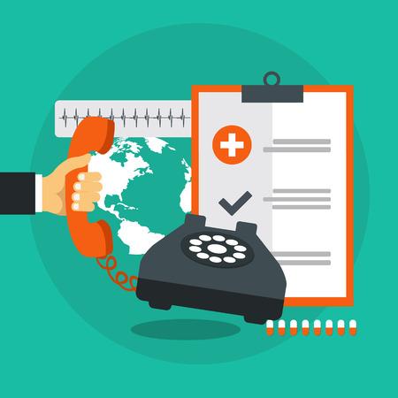 Emergency help service. Doctor on call. Flat vector illustration Illustration