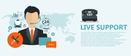 Live support concept. Business customer care service concept. Icons set of contact us, support, help, phone call and website click. Flat vector illustration.