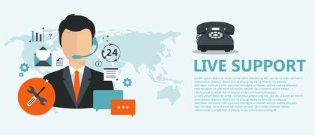 Concepto de soporte en vivo. Concepto de servicio de atención al cliente de negocios. Iconos conjunto de contáctenos, soporte, ayuda, llamada telefónica y clic de sitio web. Ilustración vectorial plana.