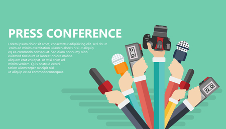 Microphones in reporter hands. Set of microphones and recorders isolated on blue background. Mass media, television, interview, breaking news, press conference concept. Flat vector illustration.