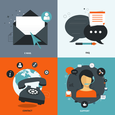 Set of flat vector icons for web and mobile phone services and apps. Icons for frequently asked questions, e mail, contact and support. Illustration