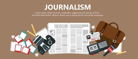 Journalism flat banner. Equipment for journalist on desk. Flat vector illustration Vettoriali