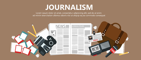 Journalism flat banner. Equipment for journalist on desk. Flat vector illustration