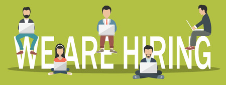 We are hiring concept. Job opportunity banner. Young people sitting on big letters. Flat vector illustration