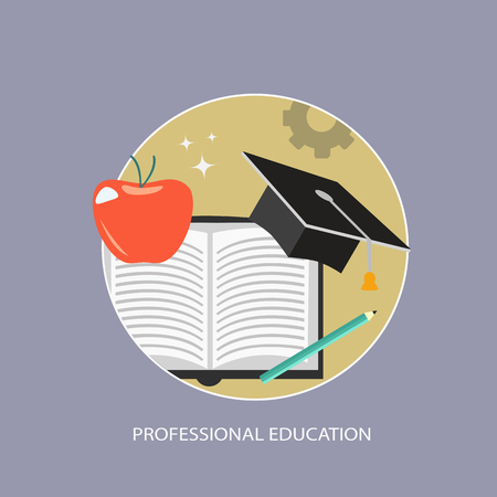Professional education business icon. Flat vector illustration