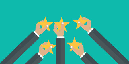 Hands holding rating star. Feedback recognition concept. Flat vector illustration Illustration