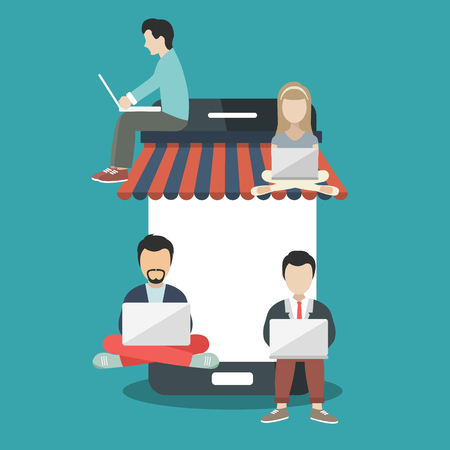 People sitting on big smart phone. Surfing concept illustration of young people using lap top to shop on line. Flat vector illustration