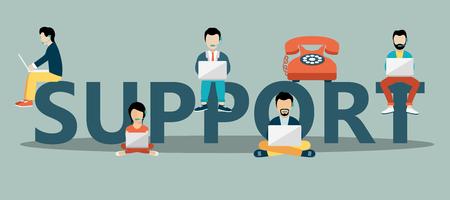 Geschäftskundenbetreuungskonzept. Riesiger Text und Leute, die mit Laptop und Kopfhörern darauf sitzen. Flache Vektor-Illustration. Vektorgrafik
