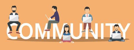 Community concept illustration of young people using laptops as part of internet community. Flat design of people on letters symbols. Flat vector illustration
