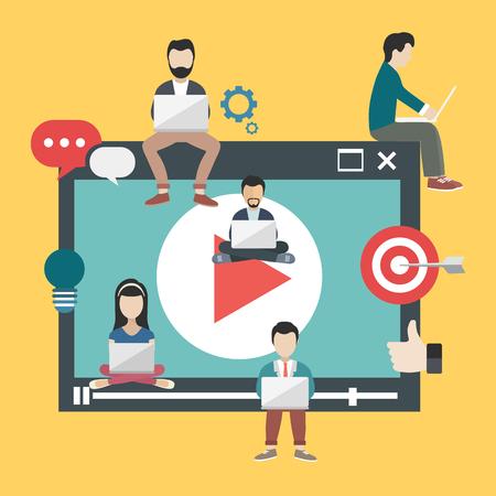 Media marketing concept. People sitting on big media player and holding lap tops. Flat vector illustration. Illustration