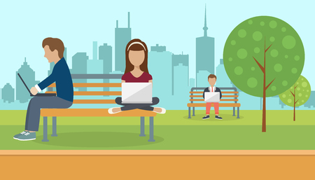 People sitting in a park, holding lap top on their lap. Social network concept. Flat vector illustration
