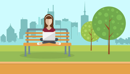 Woman sitting in a park, holding lap top on her lap. Social network concept. Flat vector illustration Illustration