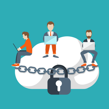 Cloud storage concept. Illustration of young people using laptop for downloading app from cloud storage. Flat design of people sitting on the big cloud. Illustration