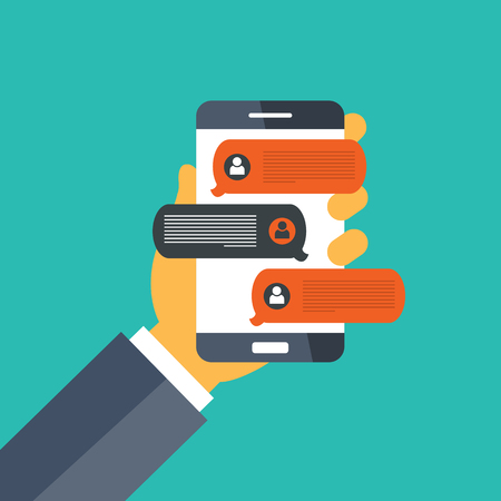 Hand holding smart phone and chatting bubble speeches. Mobile phone with chat message notifications. Concept of on line talking, speak, conversation and dialog. Flat vector illustration