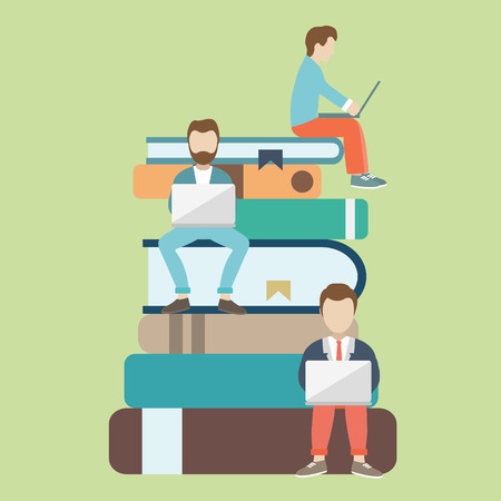 Flat vector illustration of people sitting on the big books and reading for self education. E-learning concept illustration of young people using laptop for distance studying and education.  イラスト・ベクター素材