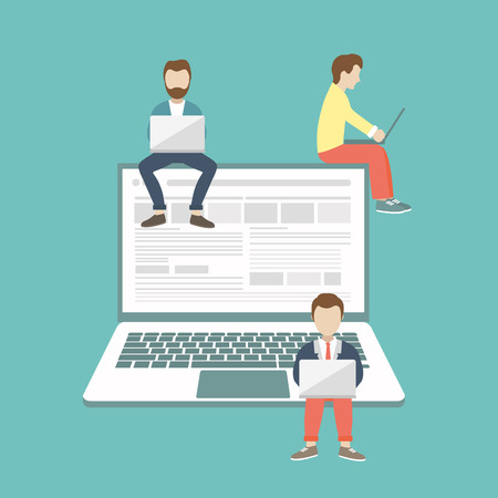 Men sitting on big notebook. Social network web site. Surfing concept illustration of young people using lap top to be a part of on line community. Flat vector illustration