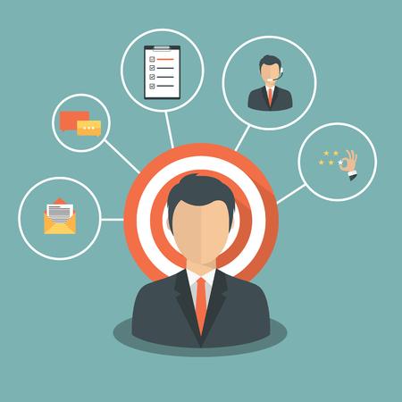 Homme présentant la gestion de la relation client. Système de gestion des interactions avec les clients actuels et futurs. Illustration vectorielle plate.