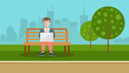 Man sitting in a park, holding lap top on his lap. Social network concept. Flat vector illustration Illustration