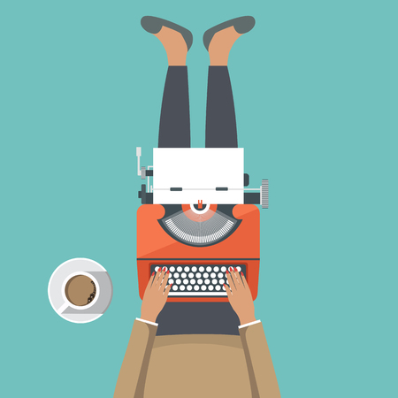 Girl sitting on the floor with typewriter machine in her lap. Flat vector illustration