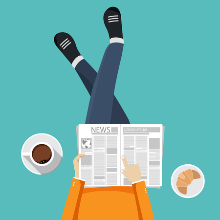 Man sitting on the floor and holding newspaper in his lap with coffee and croissant by his side. Coffee time, coffee break concept. Flat vector illustration.