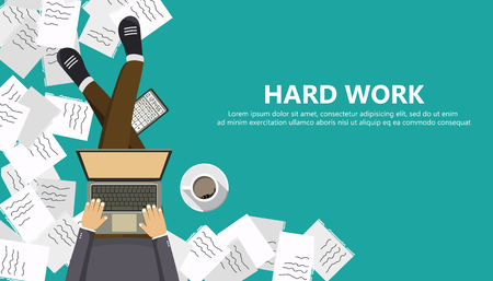 Hard work business concept. Man sitting on the floor and holding lap top in his lap. Flat vector illustration