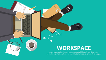 Work space business banner. Man sitting on the floor and holding lap top. View from the top. Flat vector illustration