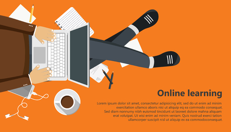 On line learning business banner. Man sitting and holding lap top in his lap. Flat vector illustration
