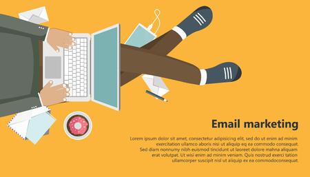 Email marketing business banner. Flat vector illustration