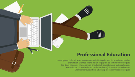Professional education business banner. Man sitting, holding lap top in his lap and typing. Flat vector illustration Illustration