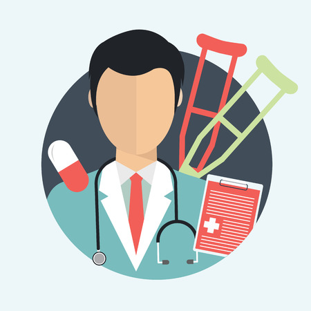 Vector illustration in a modern flat style, health care concept. Doctor and medical items. Flat vector illustration. Vettoriali