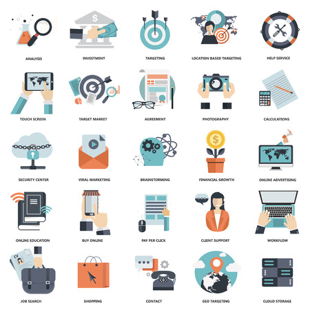Set of flat design icons for business, pay per click, creative process, searching, web analysis, work-flow, on line shopping. Icons for website development and mobile phone services and apps. Ilustração