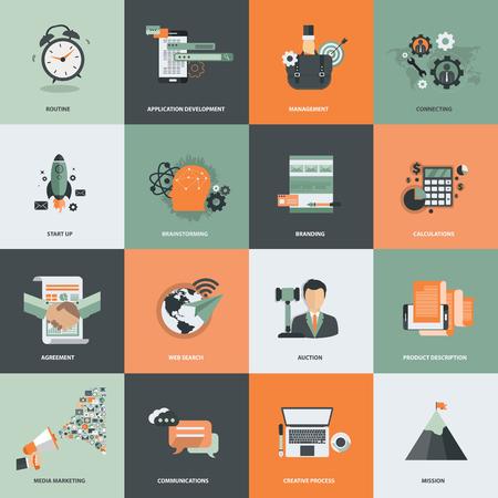 Icona di affari e gestione impostata per lo sviluppo di siti Web e servizi e app per telefoni cellulari. Illustrazione vettoriale piatta Vettoriali