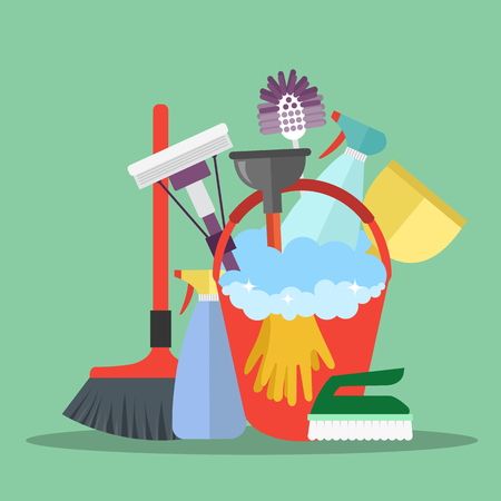 Cleaning equipment. Cleaning service concept. Poster template for house cleaning services with various cleaning tools. Flat vector illustration.