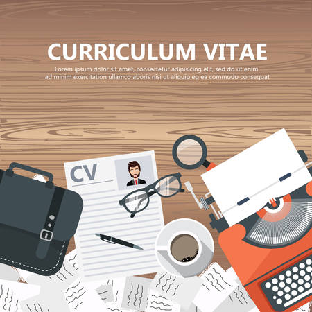 CV papers on desk with lap top, bag, papers, coffee and more. Flat vector design.