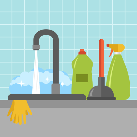 Kitchen sink icon. Flat vector illustration.
