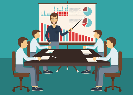 Business meeting, presentation or conference in office. Business people discussing about business plans concept. Flat vector illustration. Vettoriali