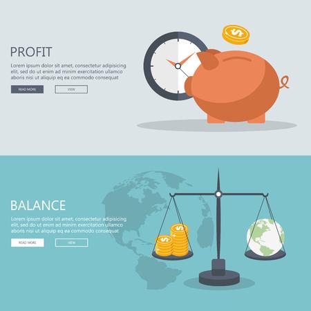 Concepts pour la finance et le marché boursier, investir, faire de l'argent, profit, tirelire, don. Peut être utilisé pour la conception web, diagramme, bannières, matériel promotionnel, etc. Illustration vectorielle plane.