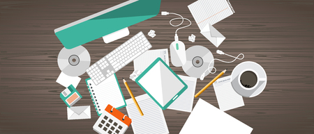 Office work desk concept. Work space, workplace, office, indoor. Flat banners for business and management purposes. Flat vector illustration. Ilustração