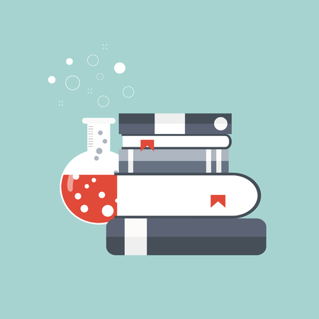 Concept for science, medicine and knowledge. Flat vector illustration Illustration