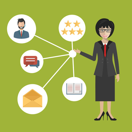 Customer Relationship Management. System for managing interactions with current and future customers. Flat vector illustration