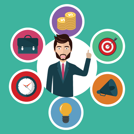 Customer service and business concept - icons and info graphic design elements. Flat vector illustration