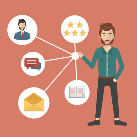 Gestion de la relation client. Système de gestion des interactions avec les clients actuels et futurs. Illustration vectorielle plane Vecteurs