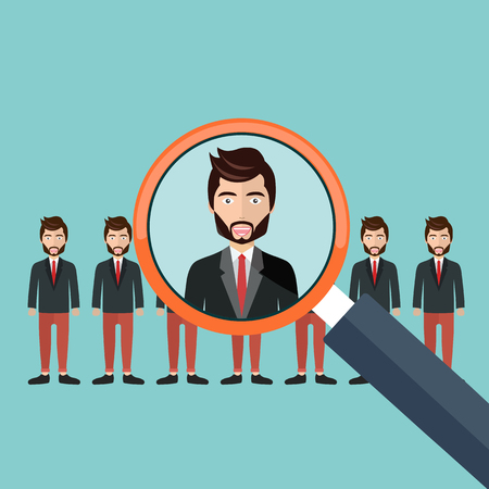 Choosing the best candidate for the job concept. Magnifying glass picking up a businessman figure from the row. Flat design