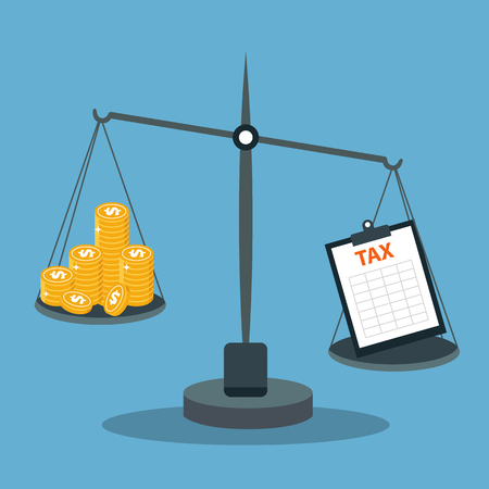 Business concept balancing with income and tax. Flat vector illustration