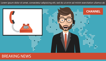 Breaking news concept. News anchor broadcasting the news with telephone on screen. Concept of live call on news. Flat vector illustration Stock Illustratie