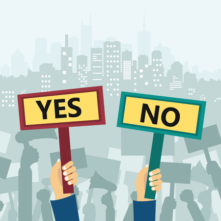 Yes and no signs. Protest in city. Flat vector illustration