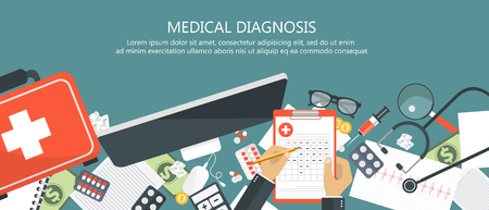 Medical diagnosis concept. Medicine and healthcare. Wooden desk with medical equipment. Flat vector illustration