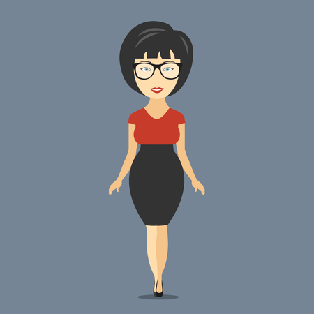 Businesswoman cartoon character. Flat vector illustration Иллюстрация