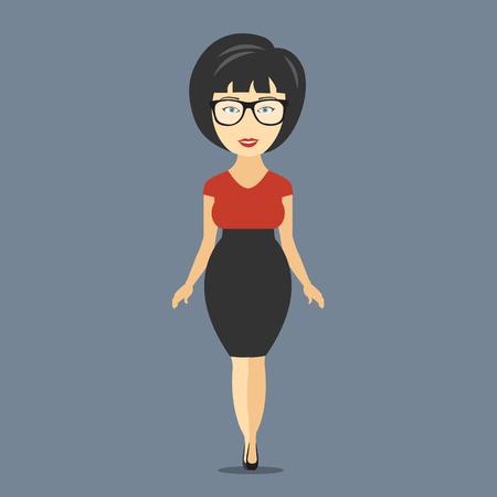 Businesswoman cartoon character. Flat vector illustration Illustration
